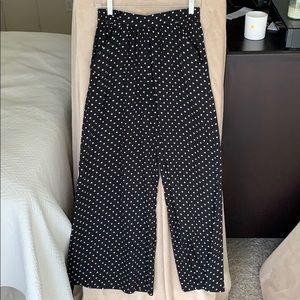 Zara lightweight wide leg polka dot pants